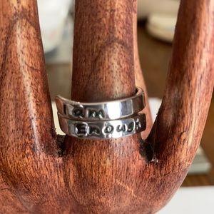 """I Am Enough "" adjustable ring"